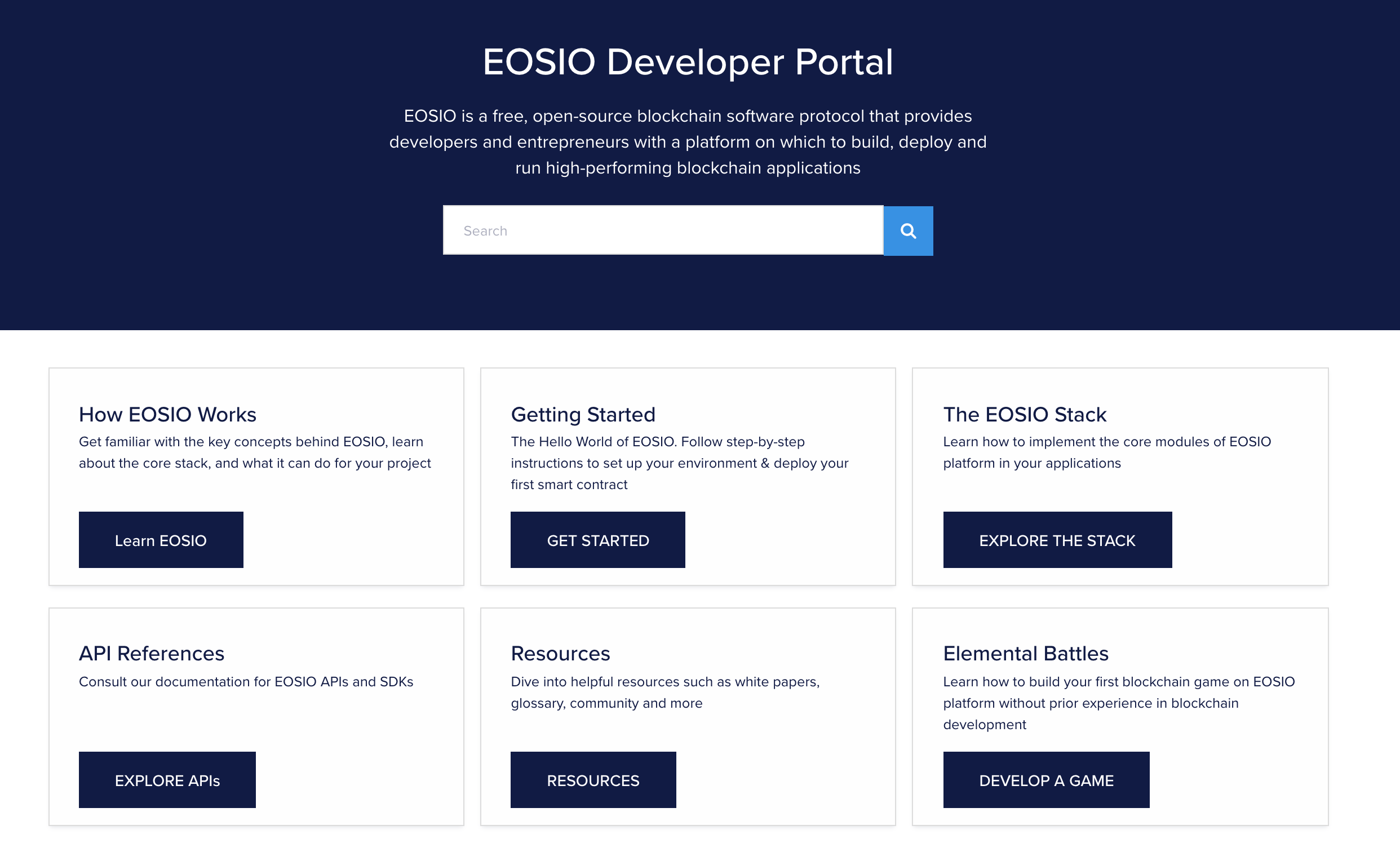 Developers Portal Page Layout